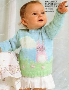 "baby bunny motif sweater knitting pattern PDF DK baby rabbit jumper 18-22"" DK light worsted 8ply pdf Instant Download by Minihobo on Etsy"