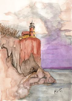 Coast of Maine - Cliff-side view for that lighthouse. (watercolor)