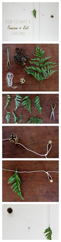 DIY Pinecone Wedding Garland ... could also use any greenery, large jewelry beads, etc.