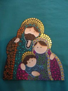 Done with such a creative painting technique called Puntillismo. Christmas Nativity Scene, Noel Christmas, All Things Christmas, Christmas Ornaments, Nativity Crafts, Nativity Sets, Country Paintings, Dot Painting, Religious Art