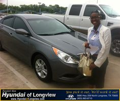 I enjoyed my experience with Hyundai of Longview. The sales team is very nice and I like my new Sonata. It is very equipped with the features that I need to use. I will make sure to refer Hyundai of Longview to future references.  millicent dickey Thursday, May 08, 2014