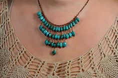 Turquoise Necklace, Bib Necklace, Gemstone Necklace, Statement Necklace, Bridesmaid Necklace on Etsy, $65.00