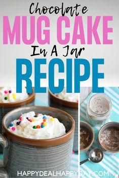 Chocolate Mug Cake Mix in a Jar Recipe! 3 tbsp cake mix, 2 tbsp water, 1 min. in the microwave - ridiculously easy! #mugcake #chocolatemugcake #mugcakerecipe #mugcakemixinajar, #masonjargift #easycakemix #masonjarrecipe Easy Chocolate Mug Cake, Easy Chocolate Desserts, Semi Sweet Chocolate Chips, Fun Desserts, Dessert Recipes, Cake Mix In A Jar Recipe, Cake In A Jar, 16 Oz Mason Jars, Mason Jar Gifts