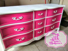Just love how this DIY dresser pops with color and panache. Pink and White Dresser Makeover. I would do blue for T