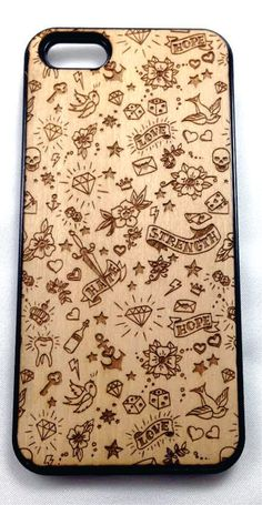 Old School Tattoo designed Wood iPhone & Snap-on Cases Mini Tattoos, Cute Tattoos, Tatoos, Old School Tattoo Designs, Tatuagem Old School, Life Is A Gift, Rockabilly Pin Up, Acrylic Sheets, Wood Design