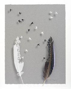 Mixed Flight 2 . vilturine guinea fowl and mute swan feathers Chris Maynard