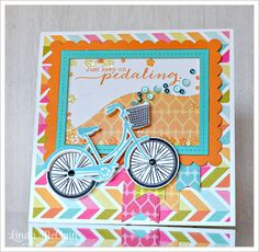 Pedal Pusher bicycle themed shaker box card