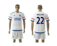 2015-2016 Chelsea #22 WILLIAN Away White Soccer Jersey