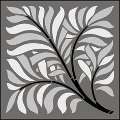 Styled leaves on branches - arts and crafts - Tile No 2 stencil