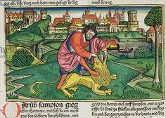 Judges 14 Samson slays the lion, from the 'Nuremberg Bible (Biblia Sacra Germanaica)' (coloured woodcut), 1483 Bible Stories, 15th Century, Slay, Find Art, Framed Artwork, Giclee Print, Lion, Museum, Judges