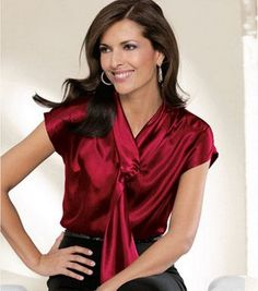 satin blouse: 54 thousand results found on Yandex. Blouse Sexy, Collar Blouse, Blouse Dress, Satin Top, Silk Top, Red Satin, Pyjama Satin, Satin Blouses, Beautiful Blouses