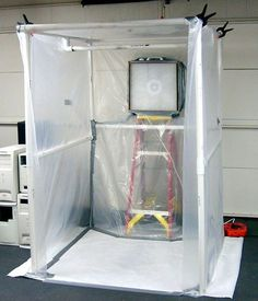How to Create a Paint Booth in Your Garage. A paint booth can help you create clean and smooth paint jobs for your projects without getting paint all over everything. To build a booth in your garage, try creating a frame out of PVC pipe,. Garage Tools, Garage Shop, Garage Workshop, Garage Paint, Garage Closet, Car Garage, Dream Garage, Tools Tools, Workshop Organization