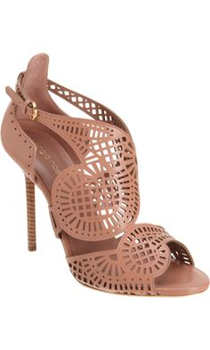 Sergio Rossi Laser Cut Sandal    Very coutore.  I could picture a dress with similar design.