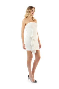 COLE STRAPLESS MINI WITH RUFFLE  was $299 now $150  STRAPLESS MINI DRESS WITH FITTED BODICE AND SKIRT. CASCADING FRONT RUFFLE ADDS A TWIST AND BEGINS AT THE WAIST LINE PAST HEM. FULLY LINE WITH BACK HIDDEN ZIPPER AND HOOK AND EYE CLOSURE.    92% POLYESTER 8% SPANDEX  DRY CLEAN ONLY