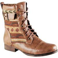 Vintage Tribal Aztec Print Boots for Girls - Ankle Tribal Aztec Print Boots