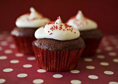 Red velvet cupcakes.....oh my! I have made these on a number of occasions and they are a hit every time.