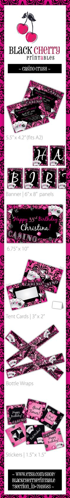PRINTABLE ~ Casino Birthday Party ~ SET from Black Cherry Printable Party Designs! These are the an awesome way to start your themed party celebration! ~ {INVITES . STICKERS . BOTTLE WRAPS . BANNERS . THANK YOU CARDS . TENT CARDS . LABELS . TAGS & MORE!} https://www.etsy.com/listing/91183810/casino-party-invitations-printable