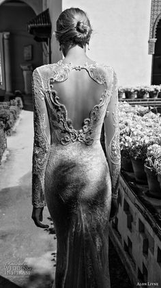 alon livne 2017 bridal long sleeves sweetheart neckline heavily embroidered elegant sexy lace sheath wedding dress keyhole back chapel train (scarlett) bv