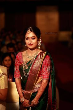 Stunning BridalMakeup, immersive sound designing, crisp editing and a professional direction give you an opportunity to experience your most precious moments again and again for years to come. Indian Bridal Sarees, South Indian Sarees, Bridal Silk Saree, Indian Bridal Fashion, Saree Wedding, Kerala Bride, Hindu Bride, South Indian Bride, Engagement Saree