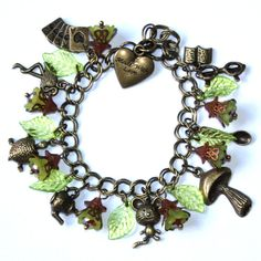 Alice in Wonderland - Bronze & Lime charm Bracelet, for her, for woman, for Alice s fans, for teens, gift ideas, holidays gift guide, friend