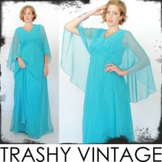 vtg 70s boho SHEER CHIFFON draped CAPE GODDESS empire FESTIVAL maxi gown dress S $98.00