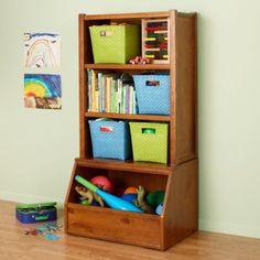 bookshelf that doubles as toy & craft storage!