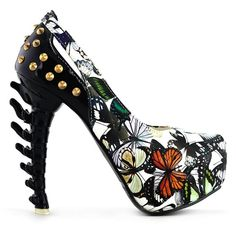Amazon.com | Show Story Rock Butterfly Stud Cut-out Peep-toe Platform... ($35) ❤ liked on Polyvore featuring shoes, pumps, heel pump, butterfly shoes, peep toe platform pumps, cut out pumps and cutout pumps