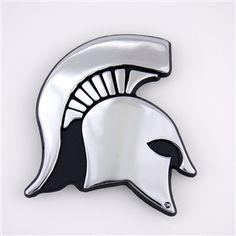 Michigan State University Spartan Helmet Chrome Car Emblem Spartan Logo, Spartan Helmet, Chrome Cars, State Street, Red Cedar, Car Stuff, Chrome Plating, State University, Tigers