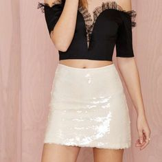 ⚡️Flash Sale⚡️NWT Nasty Gal Sequin Skirt Brand New w/ Tags Nasty Gal Creamy White Stunner Sequin Fully Lined Skirt - Size Small Nasty Gal Skirts