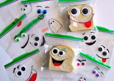 Back to School Silly Face Sandwich Bags | Liven up those school lunches with this easy kid's craft!