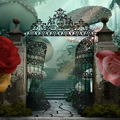 """Wonderland Gates Enter through the gates into Wonderland with giant mushrooms and flowers. My, things are getting """"curiouser and curiouser."""" Size: 10ft.x10ft. Media: Polyester fabric $295  http://alba-creative.com/ai/product/wonderland-gates"""