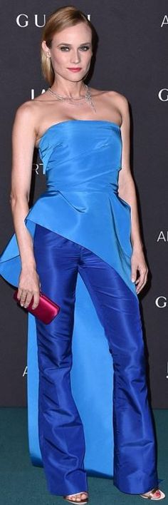 Diane Kruger: 100 mejores looks - StyleLovely Strapless Jumpsuit, Strapless Dress Formal, Formal Dresses, Diane Kruger, Satin Dresses, Blue Dresses, Grammy Outfits, Fashion Dictionary, Red Carpet Fashion