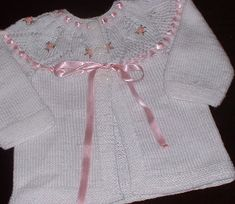 Hand Knitted Baby Sweaters Cardigans, yoke embroidery