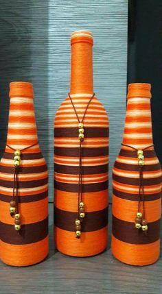 Fall Wood Crafts, Jute Crafts, Recycled Crafts, Beer Bottle Crafts, Diy Bottle, Bottle Art, Painted Wine Bottles, Bottles And Jars, Glass Bottles