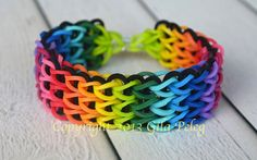 Rainbow Loom bracelet, rubber bands multicolor and black bands