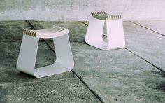 Simple and Stylish Stool with Curve Wooden Pieces Seat
