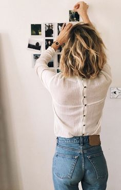 blue jeans with white back buttoned blouse | red blue and white style