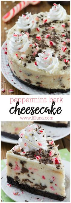 Peppermint Bark Cheesecake - It has three delicious layer-Oreo crust, creamy cheesecake filling loaded with peppermint bark pieces and white chocolate ganache on top garnished with crushed candy canes, whipped cream and chocolate.