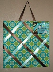 "Fabric Covered Ribbon Corkboard, a great way to ""pin"" your life on a board."