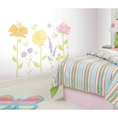 New FAIRIES & FLOWERS WALL DECALS Baby Girls Fairy Nursery Stickers Room Mural #RoomMates
