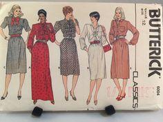 Butterick 6004 Classic A Line Shirtdress Maxi Sewing Pattern Vtg 1970s Size 12  #Butterick