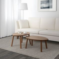 IKEA - STOCKHOLM, Nesting tables, set of walnut veneer, The table surface in walnut veneer and legs in solid walnut give a warm, natural feeling to your room. The distinctive grain pattern in the walnut veneer gives each table a unique character. Ikea Stockholm, Cheap Living Room Sets, Ikea Living Room, Living Room Furniture, Ikea Side Table, White Side Tables, Ikea Nesting Tables, Large Coffee Tables, Walnut Veneer