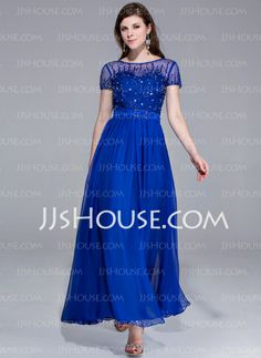 Evening Dresses - $152.99 - A-Line/Princess Scoop Neck Ankle-Length Chiffon Charmeuse Evening Dress With Beading (017025438) http://jjshouse.com/A-Line-Princess-Scoop-Neck-Ankle-Length-Chiffon-Charmeuse-Evening-Dress-With-Beading-017025438-g25438