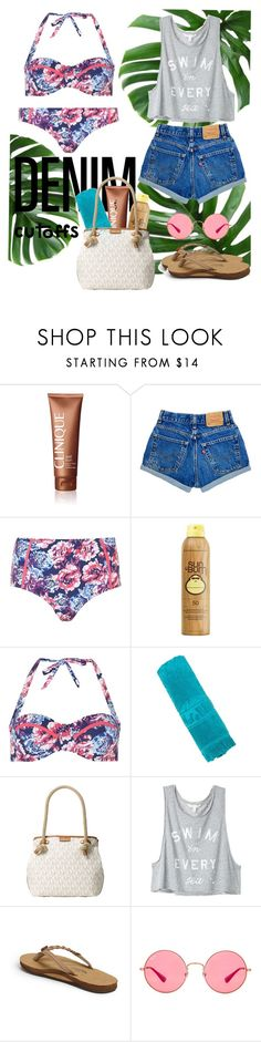 """""""Bathing suit with denim cutoffs"""" by sammy-sue-smith ❤ liked on Polyvore featuring Clinique, Dorothy Perkins, Sun Bum, Sun of a Beach, Michael Kors, Victoria's Secret, Rainbow and Ray-Ban"""