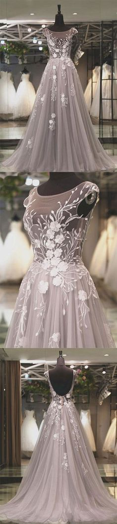 Light gray tulle lace applique long prom dress, gray evening dress