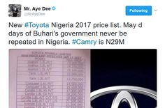 New Toyota Nigeria 2017 Price List
