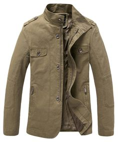 fe0935073a5889 Wantdo Men s Cotton Lightweight Jacket Khaki