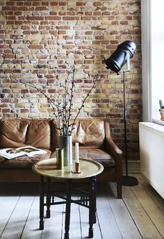 - Scandinavian Apartment With A New York Loft Feel is today news for you. This Danish apartment is decorated with traditional features of Brick Wall Living Room, Apartment Interior, Brick Interior Wall, New York Loft, Trendy Living Rooms, Exposed Brick Walls, Rustic Living Room, Loft Style, Brick Interior