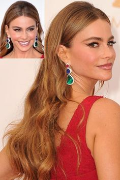 10 Perfect Hairstyles for Thick Hair  - Tucked Behind the Ear Sofia Vergara's slicked back center part harstyle looks amazing