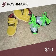 Size 3 tennis shoes and size 4 work boots EUC Shoes Baby & Walker